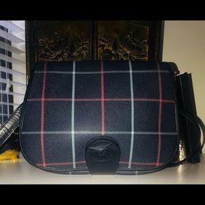 Burberry Navy Crossbody Bag Leather Trim Purse